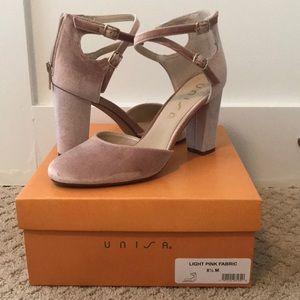 Light pink velvet heels, size 8 1/2